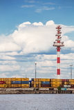 Moby Dik Container-Depot terminal , Kronshtadt, Russia Royalty Free Stock Photos