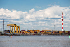 Moby Dik Container-Depot terminal. Kronshtadt, Russia Royalty Free Stock Photos