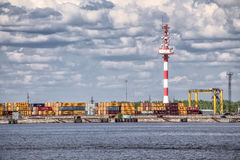 Moby Dik Container-Depot is the third largest container terminal in the St.Petersburg Harbour, Kronstadt, Russia Stock Photo