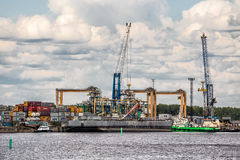 Moby Dik Container-Depot is the third largest container terminal in the St.Petersburg Harbour, Kronstadt, Russia Royalty Free Stock Photos