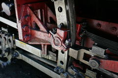 Mocanita steam train on Vaser Valley. Take a look at the gears mechanism. Royalty Free Stock Photo