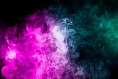 Mocap for cool t-shirts. Frozen abstract movement of  explosion smoke multiple colors on black background. Background from the smoke of vape stock illustration