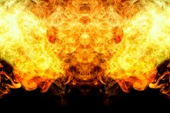 Abstract magic background. Mocap for cool t-shirts. Thick colorful orange and yellow smoke in the form of a monster on a black isolated background. Background stock images