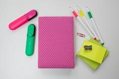 Mocap cor-de-rosa do caderno Foto de Stock Royalty Free