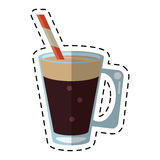 Mocca coffee cup cream straw drink - dot line. Vector illustration eps 10 Stock Photo