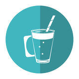 Mocca coffee cup cream straw drink - round icon. Vector illustration eps 10 Royalty Free Stock Image