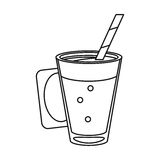Mocca coffee cup cream straw drink thin line. Vector illustration eps 10 Royalty Free Stock Image