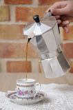 Mocca maker and cup. stock photography