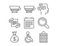 Mocha, значки выведенный из строя и календарь Знаки кофе поиска, сообщений и Bombon Стоковые Изображения