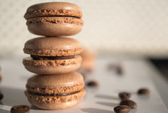 Mocha-chocolate macaron. N royalty free stock photography