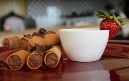 Mocha cigar cake Royalty Free Stock Photos