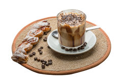 Mocha. Coffee with chocolate and powder Royalty Free Stock Images