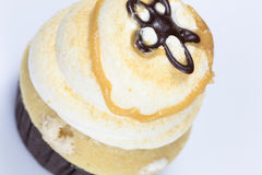 Mocha Coffee Cupcake with caramel syrup Royalty Free Stock Photo