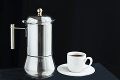 Mocha coffee machine and cup of coffee Stock Photo