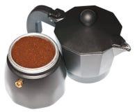 Mocha Coffee Maker. Open modern black italian mocha coffee maker. Isolated on white Stock Image