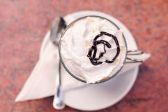Mocha Coffee. View From Above on a Mocha Coffee with Whipped Cream and Chocolate Topping Stock Photos