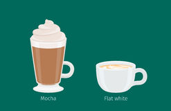Mocha and Flat White Coffee Drinks Illustration Royalty Free Stock Photos