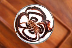 Close up Mocha Ice coffee in shop. Mocha Ice coffee in coffee shop stock image