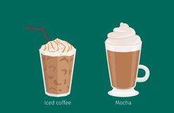 Mocha and Iced Coffee Drinks Cartoon Illustration Royalty Free Stock Images