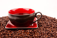 Mocha Java Cup Saucer Coffee Beans Drink Stock Photos
