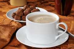 Mocha latte and truffles Stock Photo