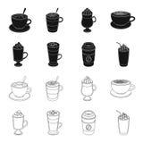 Mocha, macchiato, frappe, café da tomada Tipos diferentes de ícones da coleção do grupo de café no preto, vetor do estilo do esbo Foto de Stock Royalty Free