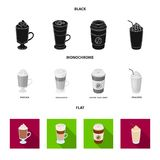 Mocha, macchiato, frappe, take coffee.Different types of coffee set collection icons in black, flat, monochrome style. Vector symbol stock illustration Royalty Free Stock Photo