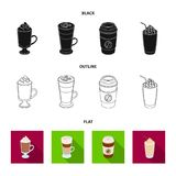 Mocha, macchiato, frappe, take coffee.Different types of coffee set collection icons in black,flat,outline style vector. Symbol stock illustration Royalty Free Stock Images