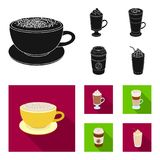 Mocha, macchiato, frappe, take coffee.Different types of coffee set collection icons in black, flat style vector symbol. Stock illustration Royalty Free Stock Images