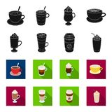 Mocha, macchiato, frappe, take coffee.Different types of coffee set collection icons in black,flet style vector symbol. Stock illustration Royalty Free Stock Photo