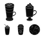 Mocha, macchiato, frappe, take coffee.Different types of coffee set collection icons in black style vector symbol stock. Illustration Royalty Free Stock Images
