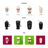 Mocha, macchiato, frappe, take coffee.Different types of coffee set collection icons in cartoon,black,flat style vector. Symbol stock illustration Stock Photography