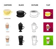 Mocha, macchiato, frappe, take coffee.Different types of coffee set collection icons in cartoon,black,outline,flat style. Vector symbol stock illustration Royalty Free Stock Photos