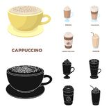 Mocha, macchiato, frappe, take coffee.Different types of coffee set collection icons in cartoon,black style vector. Symbol stock illustration Stock Images