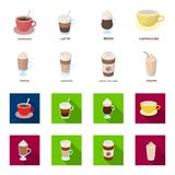 Mocha, macchiato, frappe, take coffee.Different types of coffee set collection icons in cartoon,flat style vector symbol. Stock illustration Stock Images