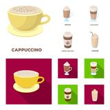 Mocha, macchiato, frappe, take coffee.Different types of coffee set collection icons in cartoon,flat style vector symbol. Stock illustration Royalty Free Stock Photography