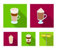 Mocha, macchiato, frappe, take coffee.Different types of coffee set collection icons in flat style vector symbol stock. Illustration Stock Photos