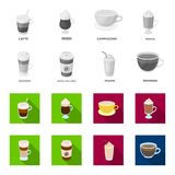 Mocha, macchiato, frappe, take coffee.Different types of coffee set collection icons in monochrome,flat style vector. Symbol stock illustration Stock Photo