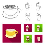 Mocha, macchiato, frappe, take coffee.Different types of coffee set collection icons in outline,flat style vector symbol. Stock illustration Stock Images