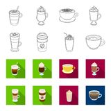 Mocha, macchiato, frappe, take coffee.Different types of coffee set collection icons in outline,flat style vector symbol. Stock illustration Royalty Free Stock Image