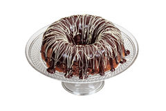 Mocha Pound Cake With Ganache Frosting. On a white background stock image