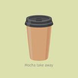 Mocha Take Away. Coffee in Paper Cup Illustration Royalty Free Stock Images