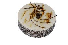 Mochacake met decoratieve gel en chocolade wordt verfraaid die stock foto's