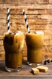 Mochakoffie in een hoog het drinken glas stock foto