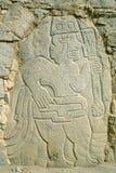 Moche and Chimu civilizations,Trujillo, Perù. Wall carving of the Moche and Chimu civilizations and guide, Trujillo, Perù. Tourism is a major industry in Stock Images