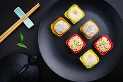 Mochi assortment on plate stock images
