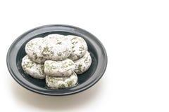 mochi de thé vert avec le haricot rouge images stock