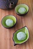 Mochi del tè verde Immagine Stock