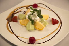 Mochi Ice Cream. Close-up Mochi Ice Cream with white plate stock image
