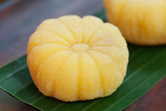 Mochi japanese dessert with mango Outdoor garden background Royalty Free Stock Photos